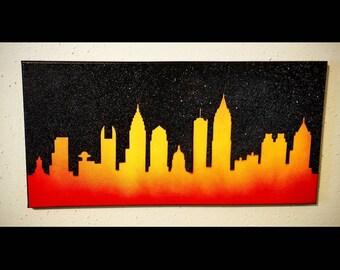 """Atlanta Skyline 10""""x20"""" canvas spray paint art flame painting"""