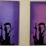 "Purple and Pinkish Purple Prince Painting on 10"" x 20"" Canvas Art Spray Paint Art Purple Rain The Artist formally known as Prince"