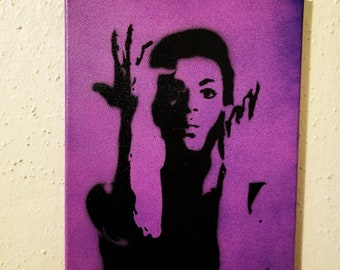 """Prince Painting on 9"""" x 12"""" Canvas Purple and Flame Colors Art Spray Paint Art Purple Rain The Artists formally known as Prince"""