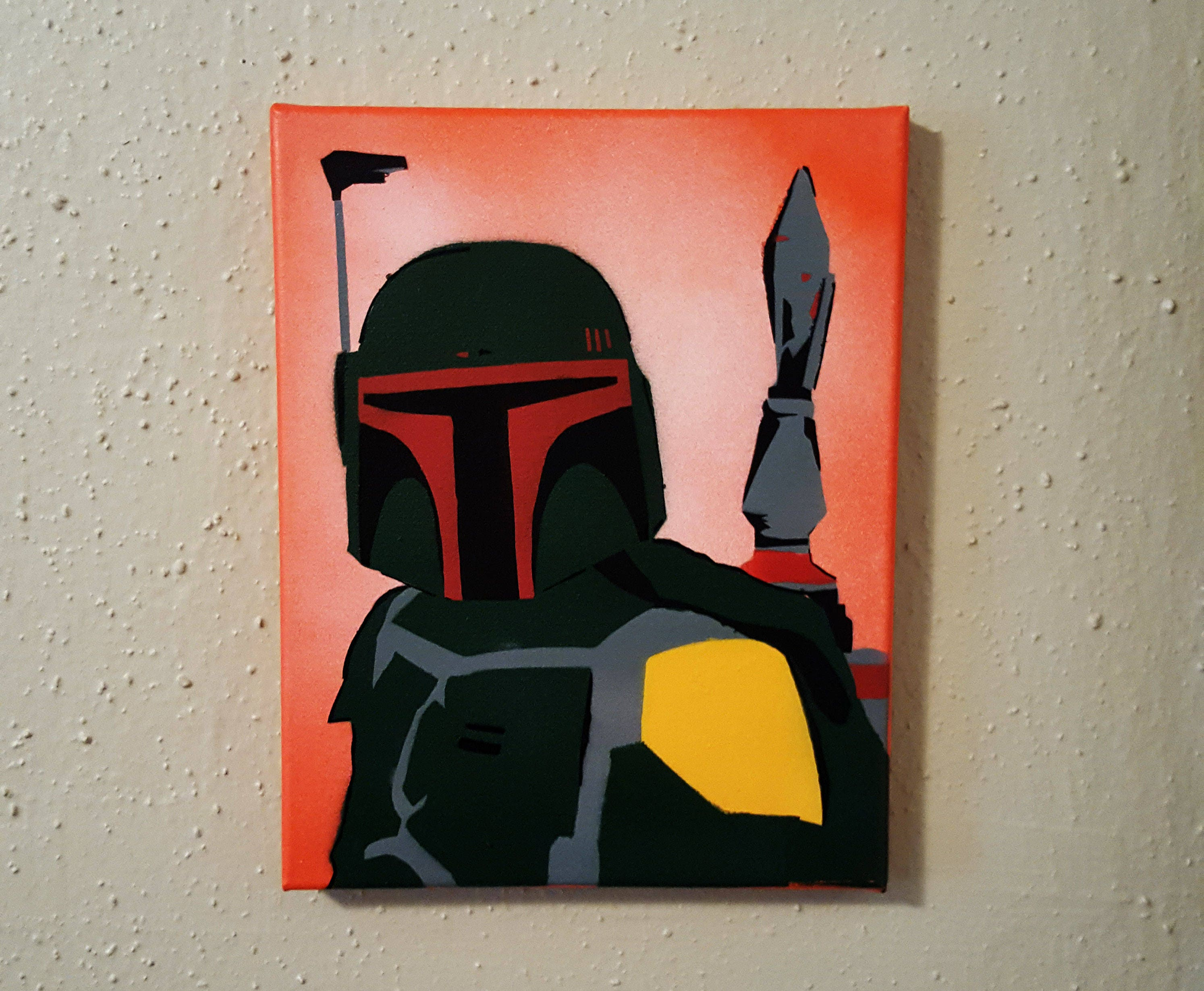 Boba fett star wars canvas 8x10 star wars fan art 8x10 darkside
