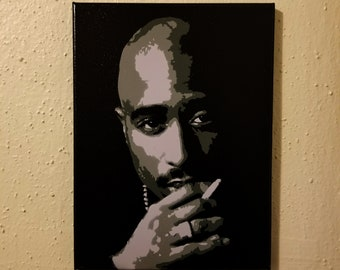 """Tupac Shakur Black and White Painting 9x12"""" Canvas with Black background 2Pac  NY Cali Rap Westside Makaveli California  2 pac Grey Gray"""