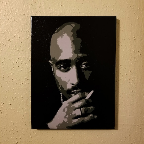 2pac Painting Tupac art Rap Stretched Canvas