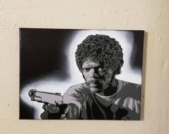 "Samuel L Jackson painting on 9"" x 12"" Canvas Black and White w/ Black background Pulp Fiction Jules Winnfield Spray Paint Fan Art Gray Gray"