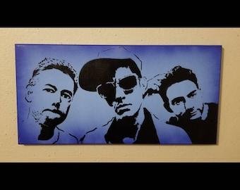 "Beastie Boys 10"" x 20"" canvas - Red, Yellow, Blue, Purple, Pink, MCA, Ad-rock, Mike D. Hip-hop punk rock, Brooklyn Manhattan Art NY"