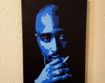 "Tupac Shakur Blue Painting 9x12"" Canvas with Black background 2Pac  NY Cali Rap Westside Makaveli California  2 pac"