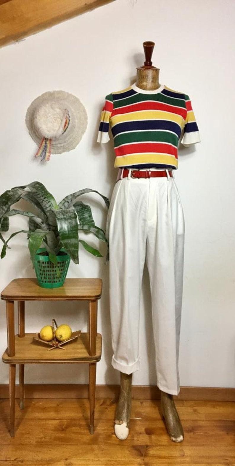 "1950s Men's Pants, Trousers, Shorts | Rockabilly Jeans, Greaser Styles Vintage 1950s Style White Cotton Gabardine ""Liz"" Trousers Pants - size SMLXL $114.87 AT vintagedancer.com"