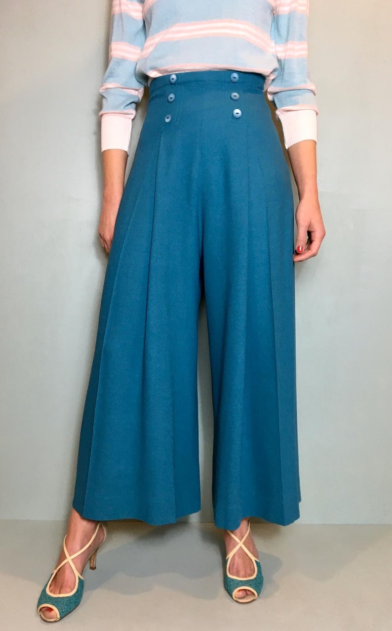 "Vintage High Waisted Trousers, Sailor Pants, Jeans Vintage 1930s Style ""Pauline"" Turquoise Pants - size SML $113.54 AT vintagedancer.com"