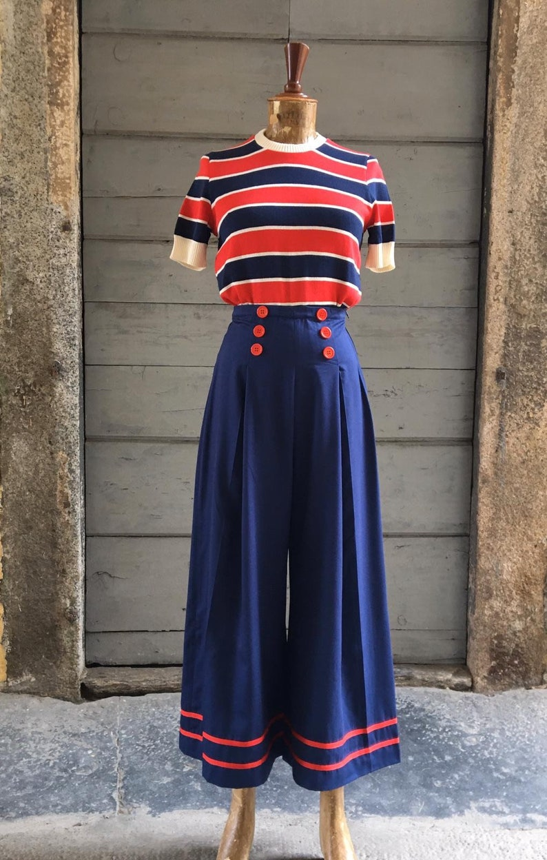 1930s Fashion Colors & Fabric Vintage 1930s Style Navy Blue