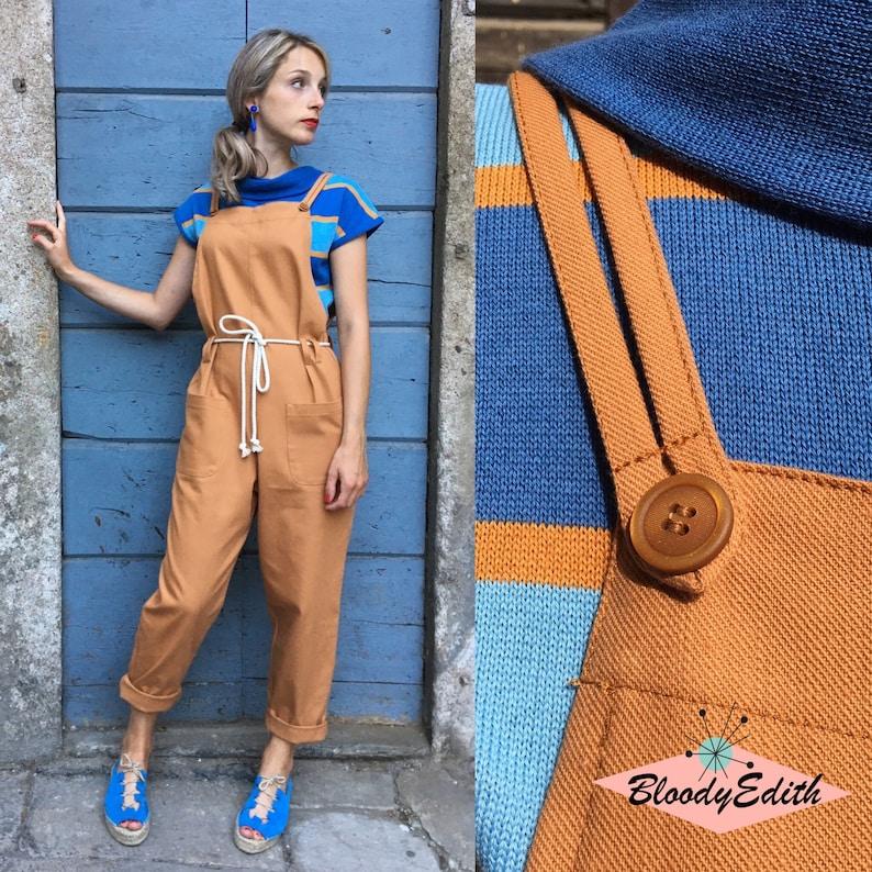 "Vintage Overalls & Jumpsuits Vintage 1950s Style Burnt Orange Gabardine Cotton ""Cami"" Jumpsuit - size S/M M/L L/XL $144.85 AT vintagedancer.com"