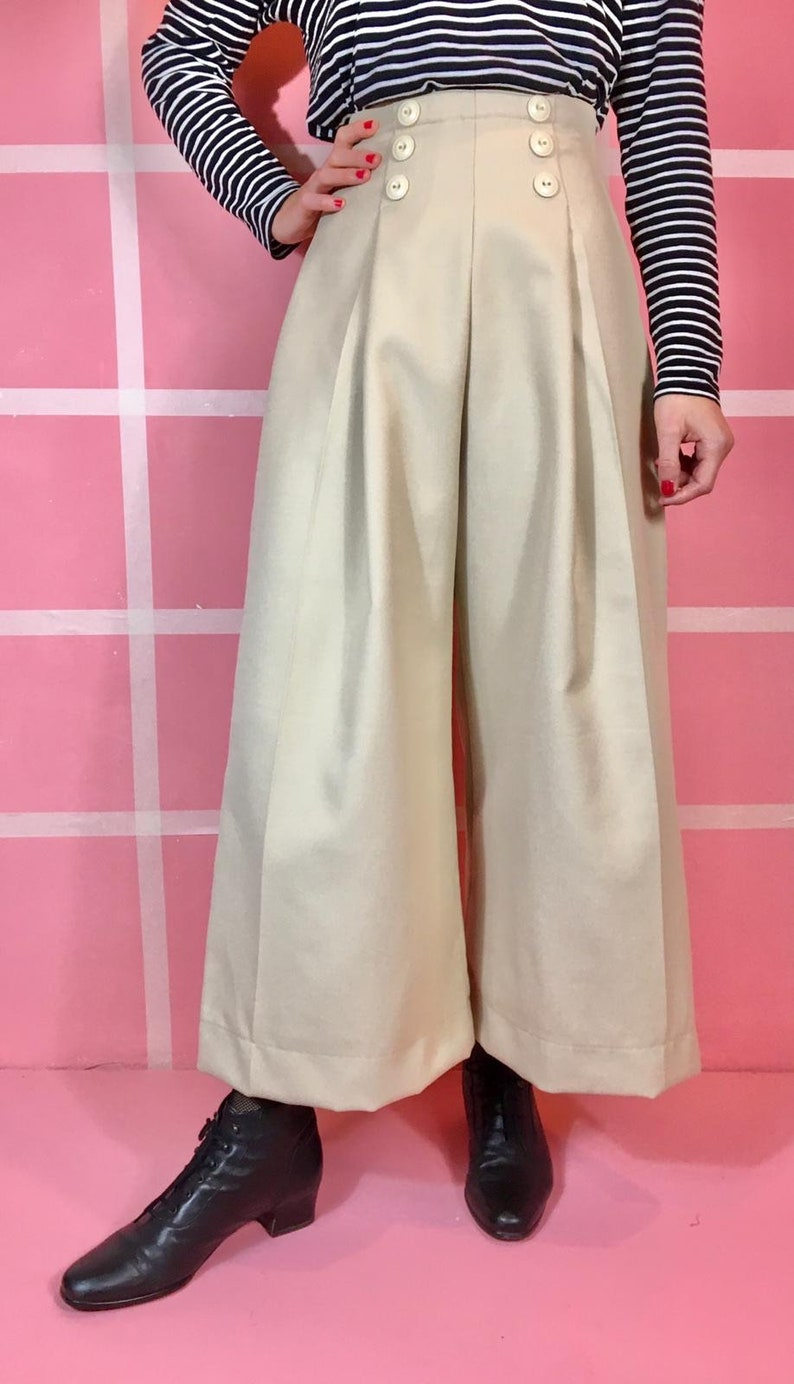 "1940s Swing Pants & Sailor Trousers- Wide Leg, High Waist Vintage 1930s Style ""Pauline"" Ivory Woolen Gabardine Pants - size XSSMLXL $124.97 AT vintagedancer.com"