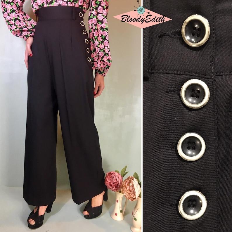 1930s Wide Leg Pants and Beach Pajamas     Vintage 1930s 1940s Style Black Gabardine Pants - size XSSMLXL $107.38 AT vintagedancer.com