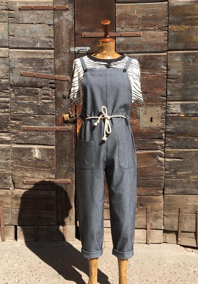 """1950s Style Clothing & Fashion Vintage 1950s Style Black Denim Cotton """"Cami"""" Jumpsuit - size S/M M/L L/XL $144.85 AT vintagedancer.com"""