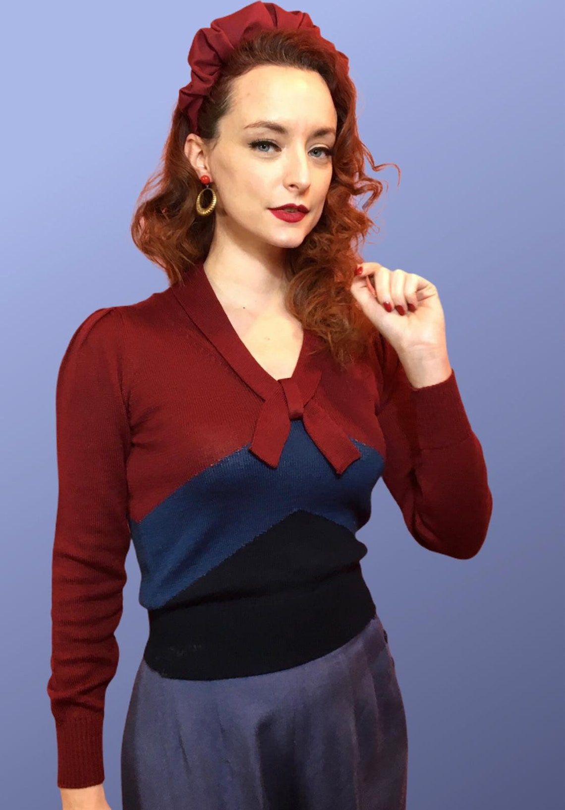 "Vintage Sweaters & Cardigans: 1940s, 1950s, 1960s Vintage 1940s Style Color Block Woolen ""Loretta"" Sweater Jumper - size SML $114.94 AT vintagedancer.com"