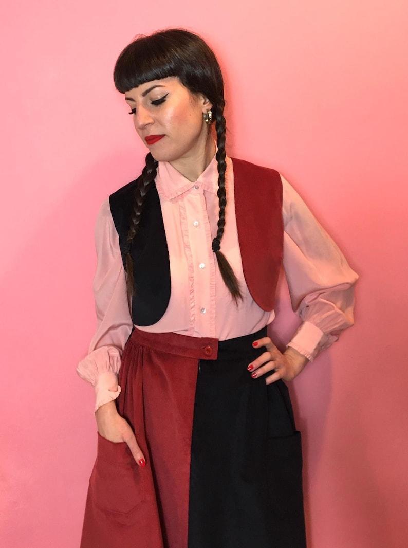 size SM,ML,LXL Vintage 1940s 1950s Style Color Block Corduroy \u201cLil\u201d Limited Edition Suit Dress2 pc Set Skirt and Vest