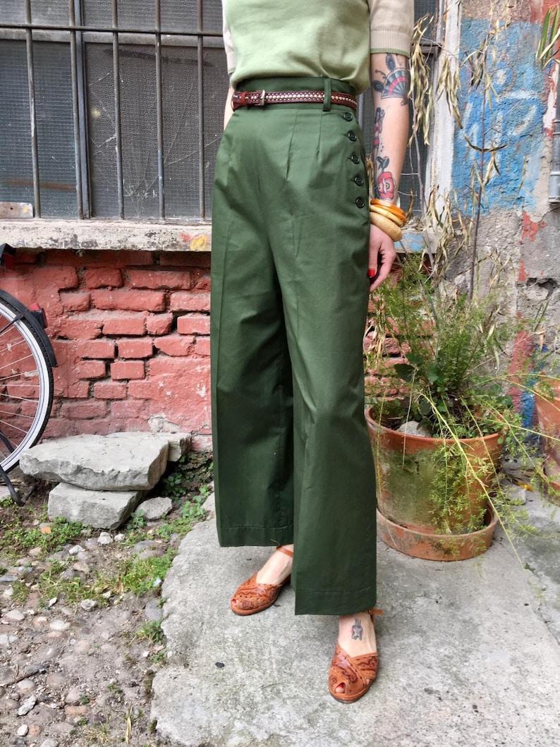 1940s Swing Pants & Sailor Trousers- Wide Leg, High Waist Vintage 1930s 1940s Style Forest Green Gabardine Pants - size XSSMLXL $112.10 AT vintagedancer.com