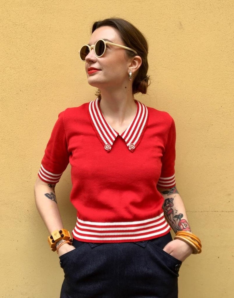 """1940s Blouses and Tops Vintage 1940s 1950s Style Red and Cream Stripes Cotton """"Mirna"""" Sweater Jumper - size SML $85.86 AT vintagedancer.com"""