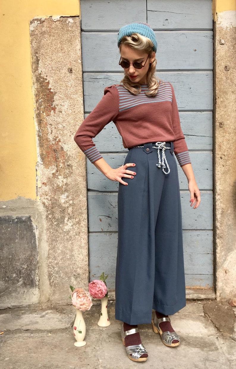 "1930s Wide Leg Pants and Beach Pajamas Vintage 1930s Style ""Pauline"" Avion Blue Gabardine Pants - size XSSMXL $112.97 AT vintagedancer.com"