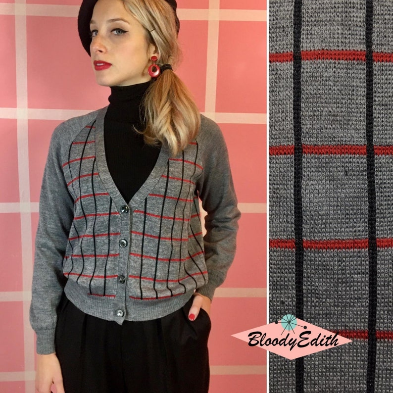 """1950s Style Clothing & Fashion     Vintage 1950s 1960s Style Gray Red and Black Wool """"Gigì"""" Sweater Cardigan - size S/MM/LL/XL $126.69 AT vintagedancer.com"""