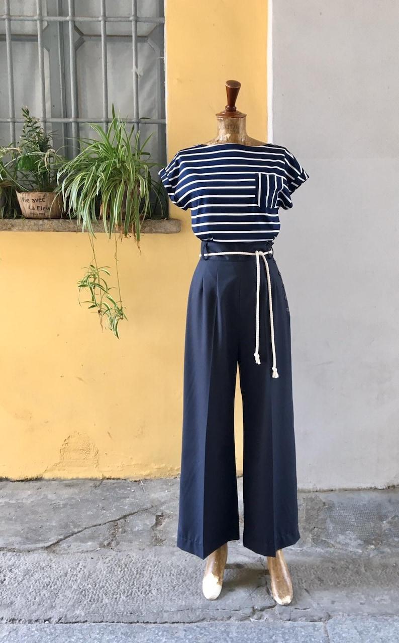 1940s Swing Pants & Sailor Trousers- Wide Leg, High Waist Vintage 1930s 1940s Style Navy Blue Cotton Gabardine Pants - size XSSMLXL $112.56 AT vintagedancer.com