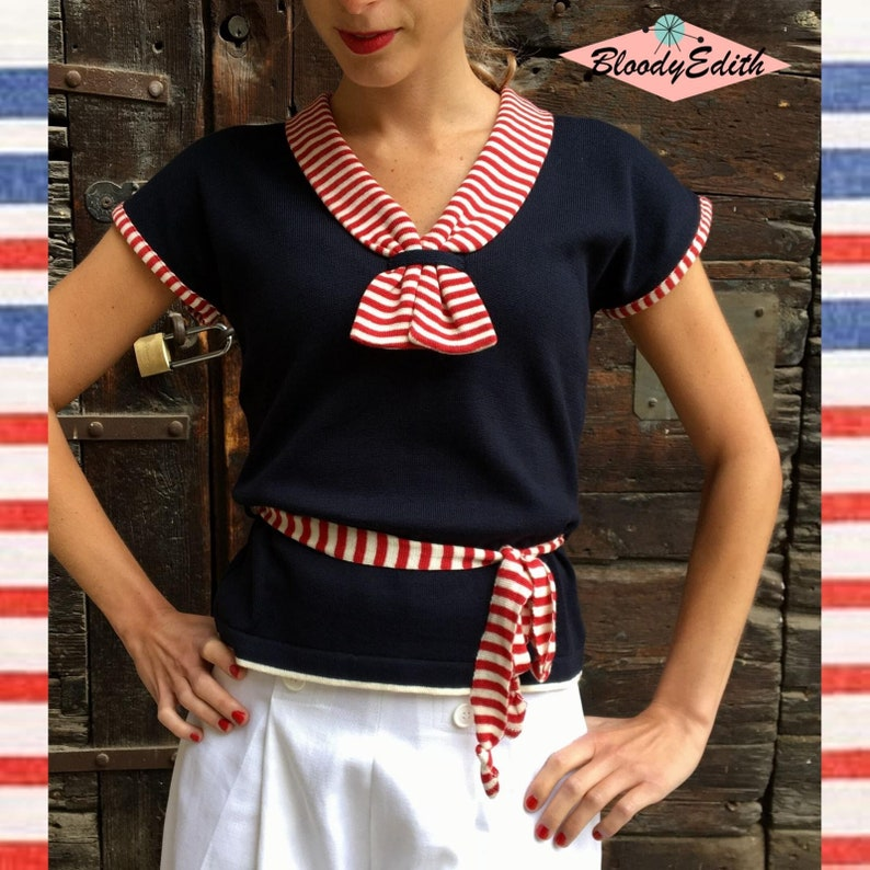 Sailor Dresses, Nautical Theme Dress, WW2 Dresses SALE 15% OFF - Regular Price 62 Euro - Vintage 1930s Style Nzvy Blue Red and White