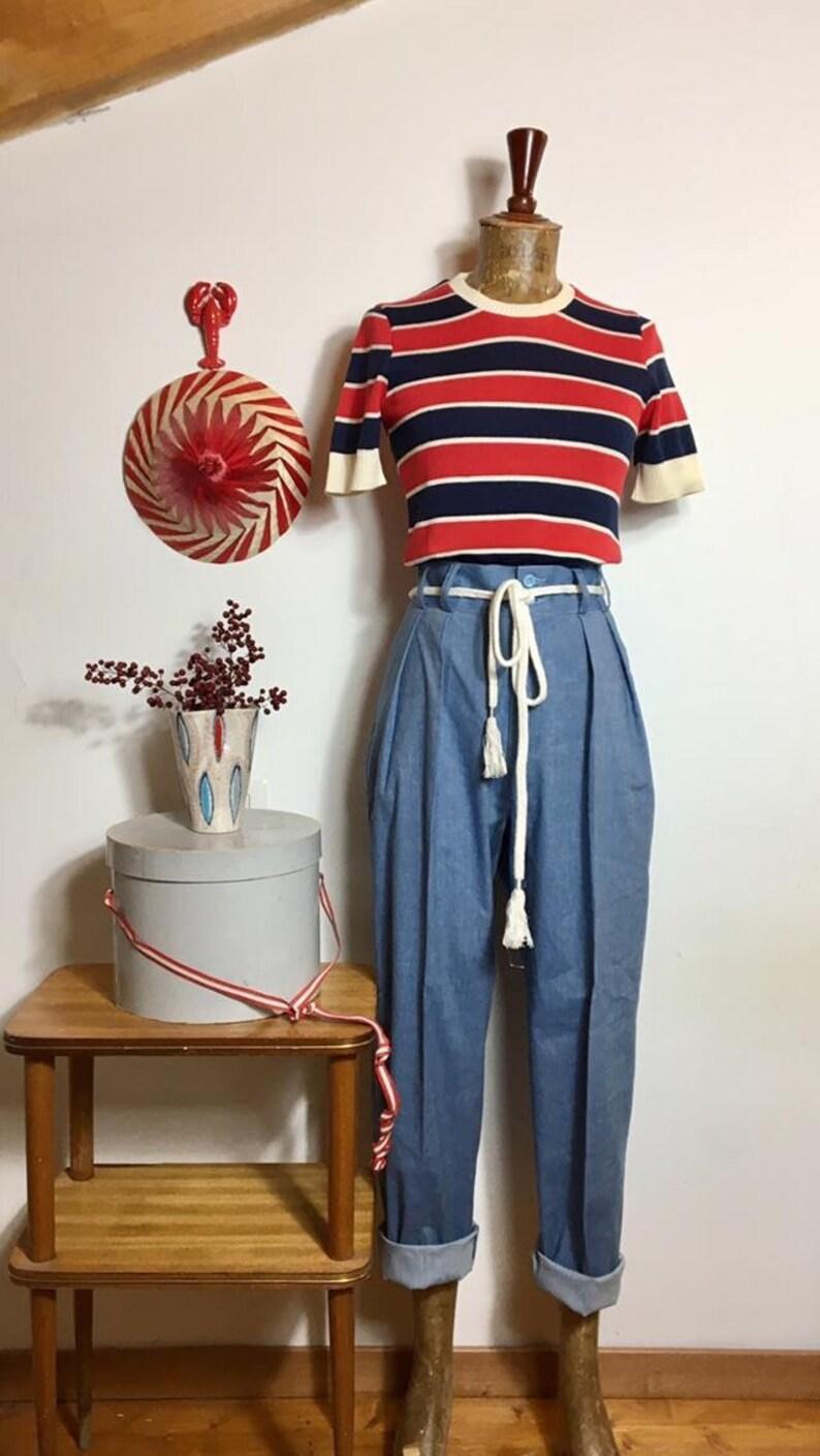 """1950s Pants & Jeans- High Waist, Wide Leg, Capri, Pedal Pushers Vintage 1950s Style Light Blue Denim Cotton """"Liz"""" Trousers Pants - size SMLXL $106.59 AT vintagedancer.com"""