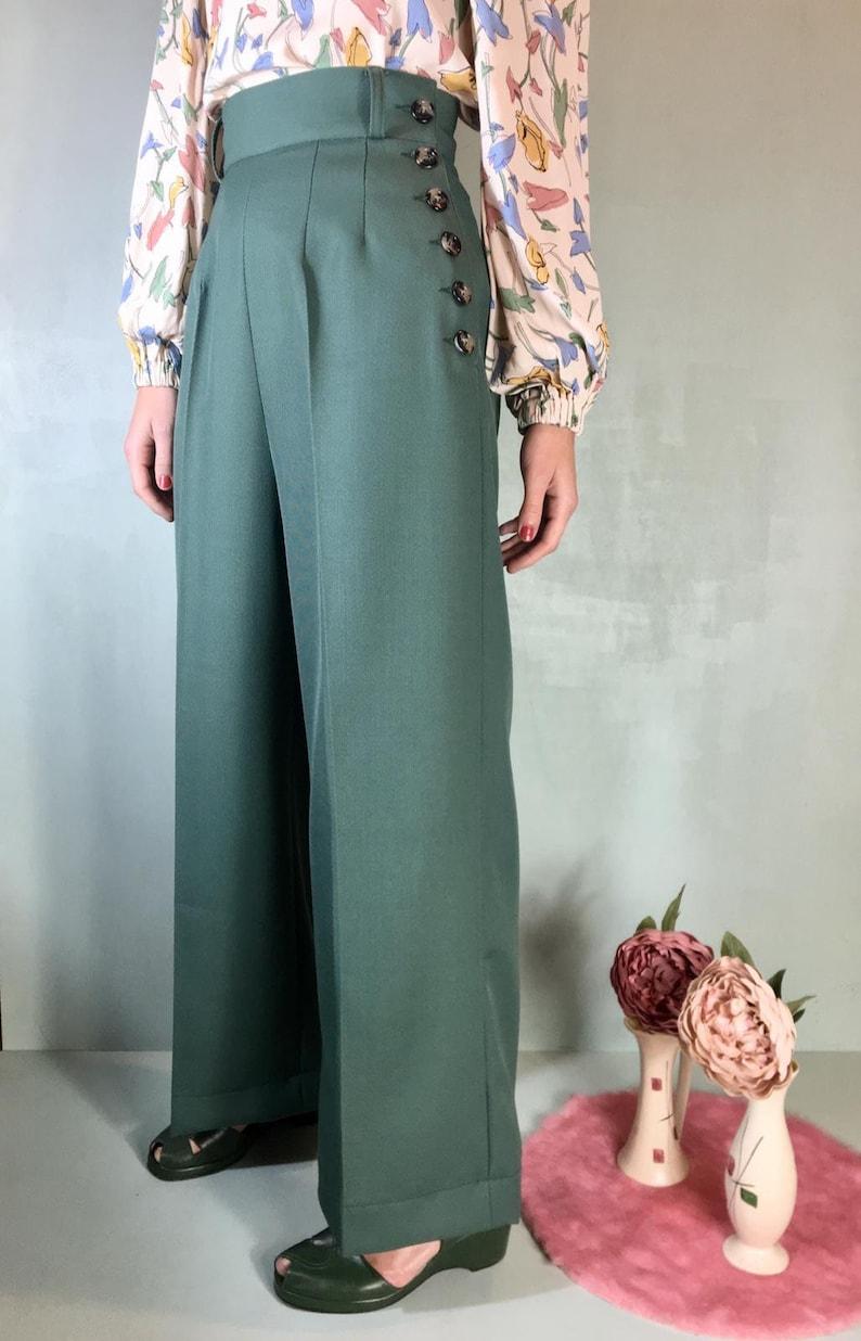 1930s Wide Leg Pants and Beach Pajamas     Vintage 1930s 1940s Style Sage Green Gabardine Pants - size XS $107.38 AT vintagedancer.com