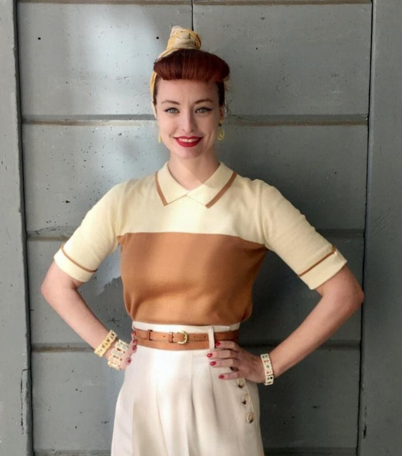 1950s Rockabilly & Pin Up Tops, Blouses, Shirts 1950s Pale Yellow and Nut Brown