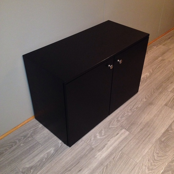 Black Shoe Storage Cabinet With Doors Fully Assembled