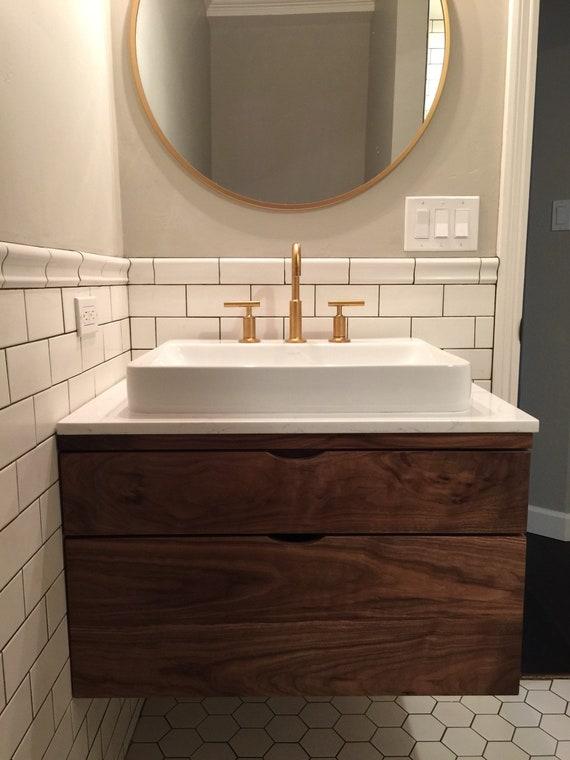 Walnut Bathroom Vanity Floating Bathroom Vanity Bathroom | Etsy