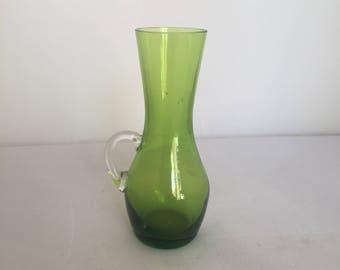 Vintage Retro Kitsch 1960s 60s moss green small mini blown glass vase