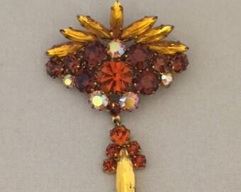 Vintage Retro 1950s 1960s 50s 60s amber gem diamante brooch pin with drop pendant