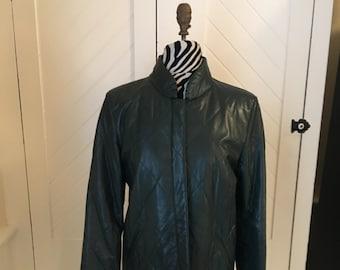 Saks Fifth Avenue Leather Jacket- Vintage 1970's Dark Jade Green Size 12