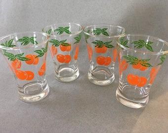Vintage Swanky Swigs Juice Glasses- Orange Leaves and Oranges Pattern-Set Of 4