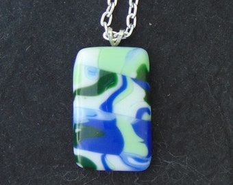 Fused Glass Pendant Blues Greens and White