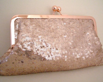 Rose Gold Evening Bag, purse, clutch bag, Sequin Fabric no.1