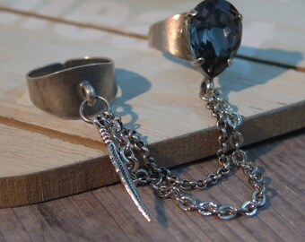 Double Rings, Statement Ring, Chained Ring, Crystal Ring, Boho Jewelry, Bohemian Jewelry, Dangle Ring, Gypsy Ring