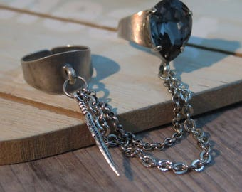Double Rings, Statement Ring, Chained Ring, Crystal Ring, Boho Jewelry, Bohemian Jewelry, Dangle Ring, Gypsy Ring,