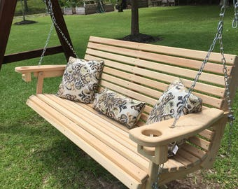 5 Ft Handmade Cypress Porch Swing with Cupholders Custom Engraving & Staining Available (FREE SHIPPING)