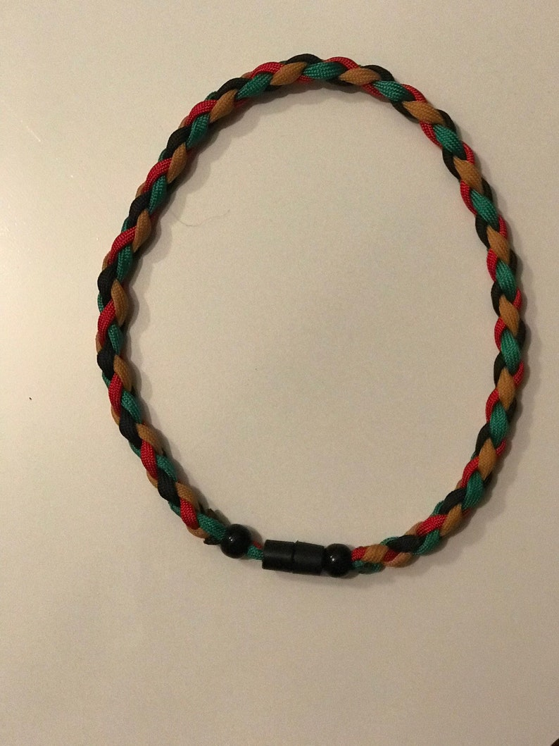 4-strand Braid Paracord Necklace w/ snap breakaway buckle New