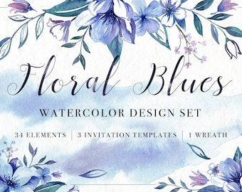 Floral Borders Set Handpainted Watercolor Clipart Digital Etsy