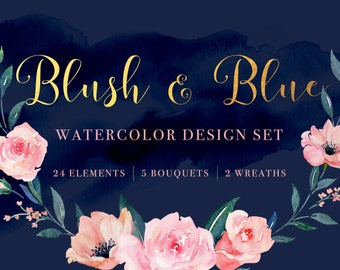 Blush and Blue Watercolor Clipart, Dreamy Peach Coral Pink Handpainted Florals, Instant Download Digital Art PNG, Painted Roses Anemone