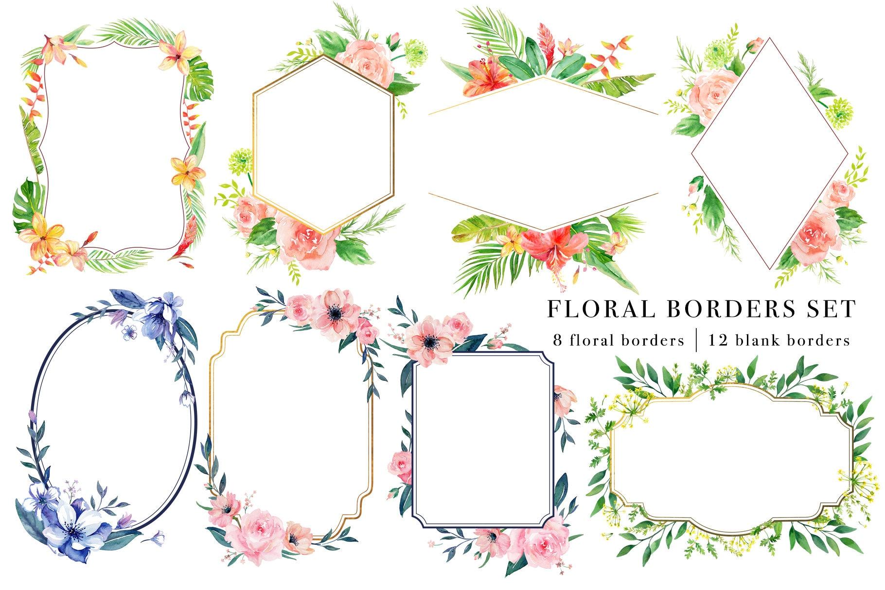 Floral Borders Set Handpainted Watercolor Clipart Digital