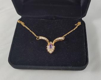 Vintage Amethyst Crystal Gold Tone Necklace circa 1980's