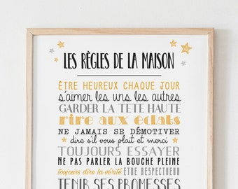 Poster The Rules of the House A4/A3 personalized