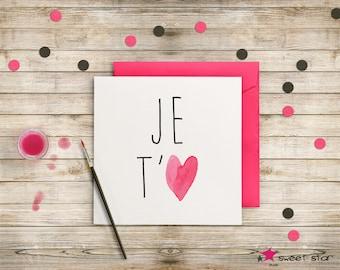 Love - card heart watercolor