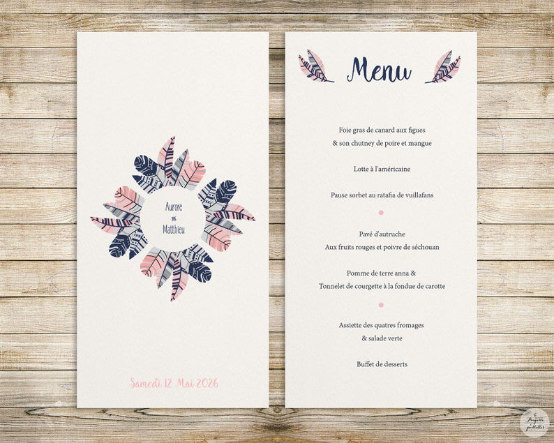 wedding invitation collection Feather invitation