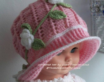 Crocheted Panama Hat with Flowers