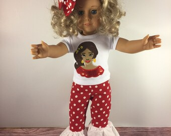 Doll Shirt Only;18 Inch Doll Clothes;Custom Doll Clothes;Baby Doll Clothes;Princess Elena;Princess Shirts;Doll Tee;Embroidered Shirt