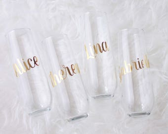 Personalised Bridal Party Gift, Bridesmaids Gifts, Wedding Glasses, Champagne Flutes, Stemless wine glass, stemless flutes, maid of honour