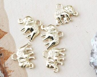 Set of 10, Gold Elephant, Elephant Charm, Elephant Charms, Gold Elephant Charm, Jewelry Charm, Gold Charm, Gold Jewelry Charm,